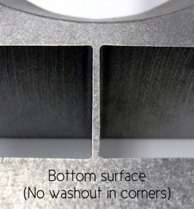 bottom surface of waterjet cut materials