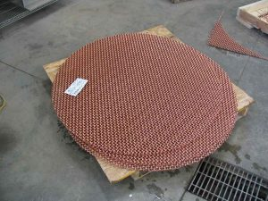 copper screen after 2-axis waterjet cutting